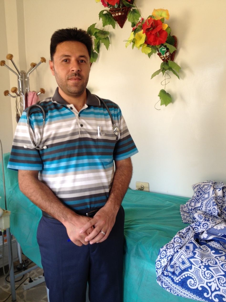 Dr. Mahmoud Hasson, a specialist in internal medicine, runs a new hospital in the Syrian village of Kfar Ghan, a protected area along the border with Turkey. The Turkish government warned that any Syrian military aircraft near the border would be a target.