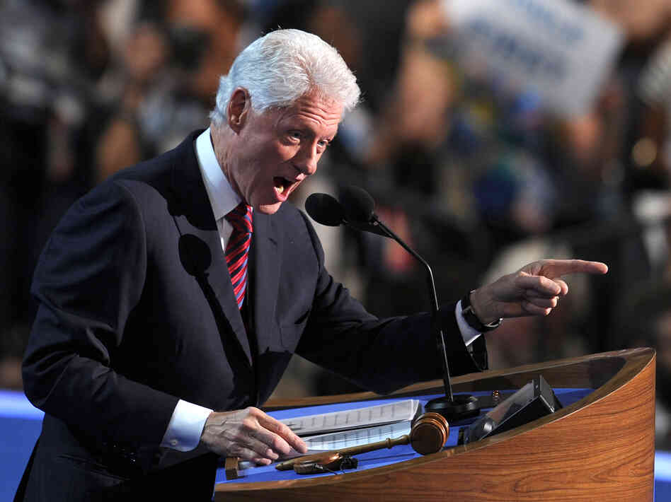 Former President Bill Clinton delivers remarks at the Democratic National Convention in Charlotte, N.C., on Wednesday.