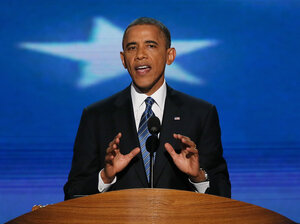 President Obama gives his acceptance speech at the  Democratic National Convention in Charlotte, N.C., on Thursday.