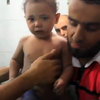 One-year-old Hassan was discovered in the rubble of an apartment building in Aleppo, Syria, giving his rescuers a moment of hope on a sad day. His parents were killed by the helicopter strike.
