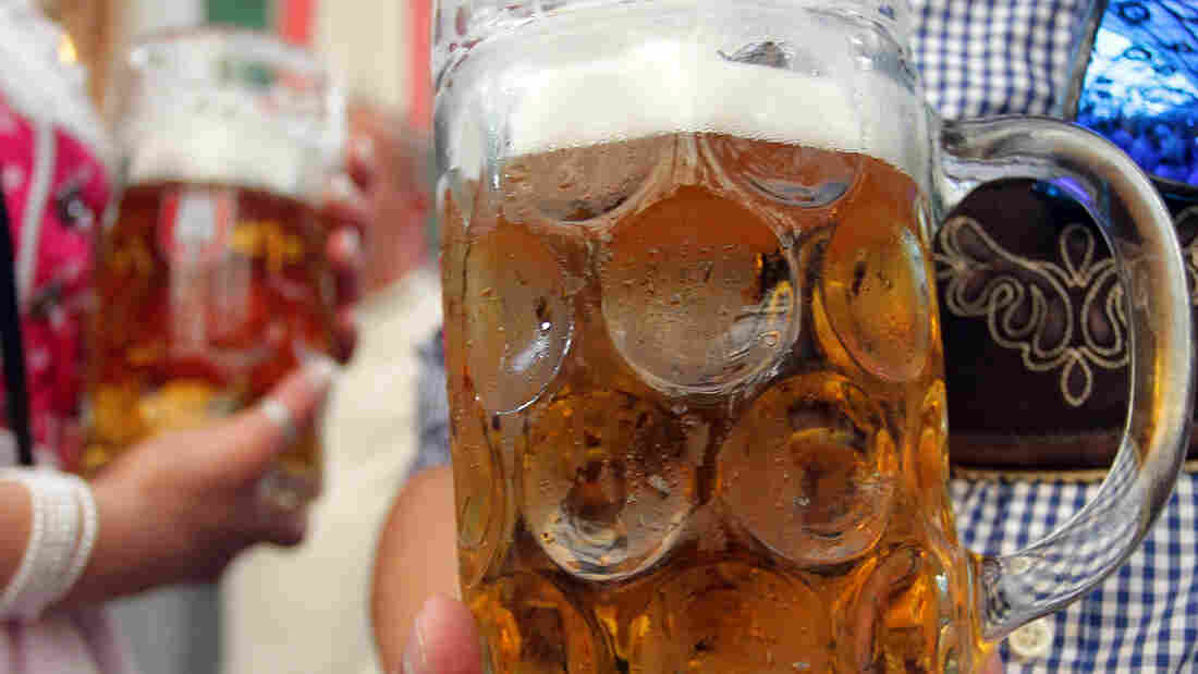 Ahead of Oktoberfest, Munich's brewers say they're running short of bottles and kegs for the festival's beer. Here, glass beer steins are seen at last year's Oktoberfest.