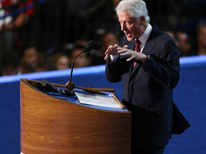 Former President Bill Clinton speaks on stage during day two of the Democratic National Convention at Time Warner Cable Arena on September 5, 2012 in Charlotte, North Carolina.
