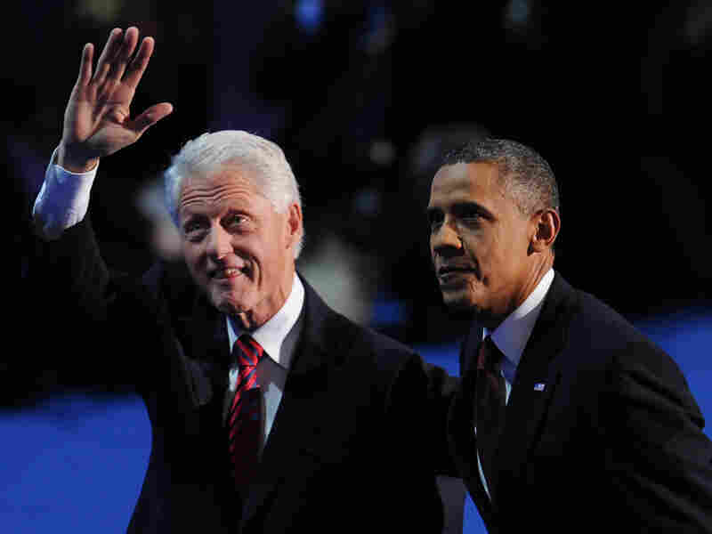 President Barack Obama and former president Bill Clinton appear together on the stage on day two of the Democratic National Convention, at the Time Warner Cable Arena in Charlotte, North Carolina September 5, 2012.
