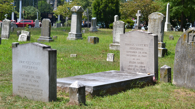The grave of The Great Gatsby author F. Scott Fitzgerald lies next to a major thoroughfare for commuters between Rockville, Md., and Washington, D.C. (NPR)