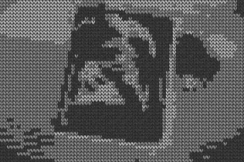 "Cat Mazza's Knit for Defense is a nine-minute, black-and-white video made from footage of 20th century conflicts. The war footage is rendered with software that makes each pixel look like a knitted stitch. ""For me, 9/11 made a huge impact and had an impact on this piece as well,"" she says."
