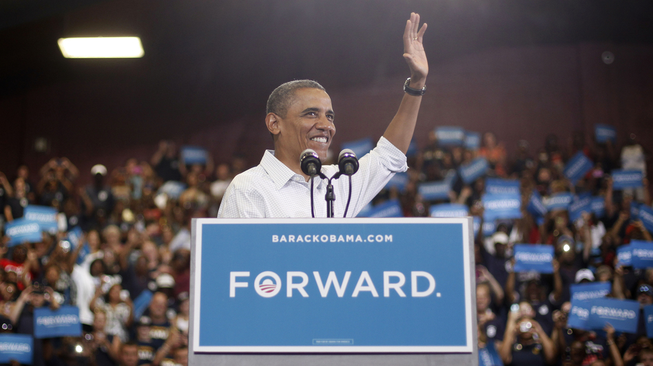 President Obama speaks during a campaign event at a high school in Toledo, Ohio. (AP)