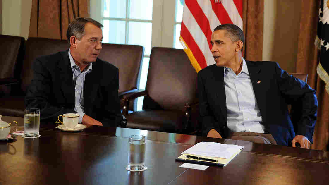 August 2011: President Obama (right) and House Speaker John Boehner at the White House as they and other lawmakers worked to head off a government shutdown that loomed.