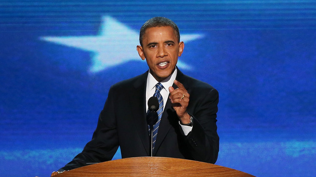 President Obama speaks Thursday at the Democratic National Convention. (Getty Images)