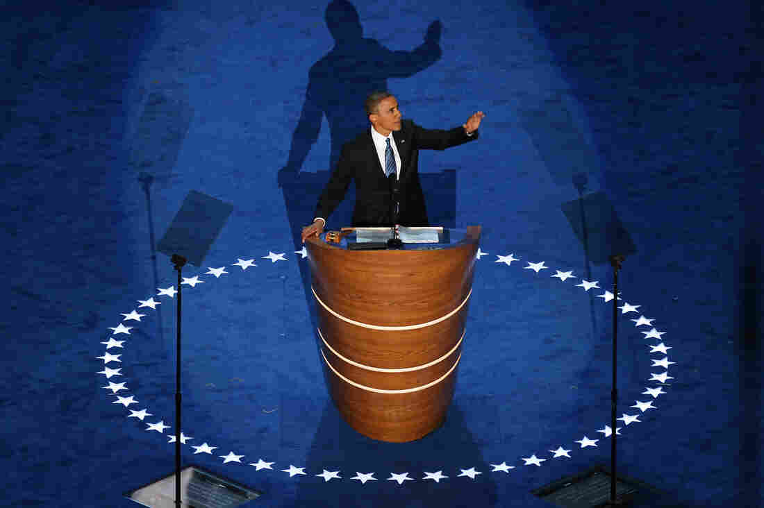 President Obama accepts the Democratic nomination for president at Time Warner Cable Arena on Thursday.