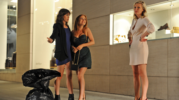 Party Animals: Lizzy Caplan (from left), Isla Fisher and Kirsten Dunst play the brazen bridesmaids who make trouble for bride-to-be Becky (Rebel Wilson) in Bachelorette. (Radius-TWC)