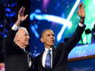 Vice President Biden and President Obama wave to the delegates Thursday night at the conclusion of the Democratic National Convention in Charlotte, N.C.