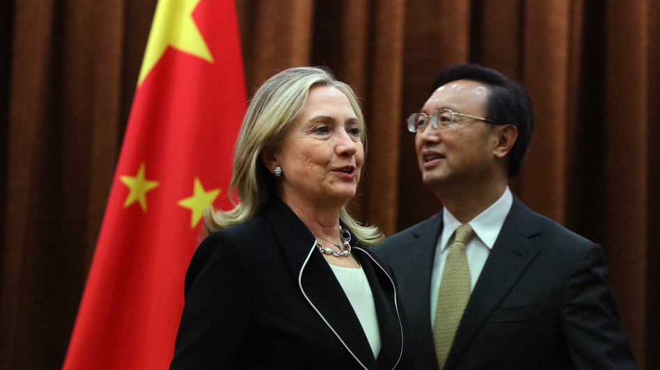 U.S. Secretary of State Hillary Clinton meets with Chinese Foreign Minister Yang Jiechi on Tuesday in Beijing to press for a peaceful resolution to competing territorial claims in the South China Sea. (AP)