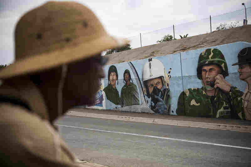 R.W. Williams, 63, a Vietnam veteran, has been seeking medical treatment for a host of ailments, including PTSD, at the VA health center in Los Angeles. He is seen here on the campus near a mural honoring soldiers.
