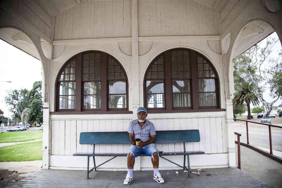 Conly Mims, 59, a Marine Corps veteran, is seen in the old trolley building. Mims participates in the Salvation Army Haven Program, which caters to veterans struggling with a variety of complex problems such as a shortage of housing and chronic medical issues.