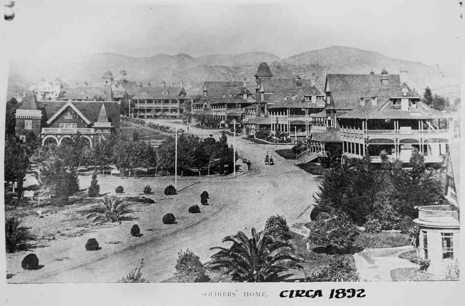 The Old Soldiers Home in Los Angeles is seen in this photo from 1892. The land was donated to the VA by landholder Arcadia Bandini de Baker in 1887, who specified that it should be used to house wounded veterans.