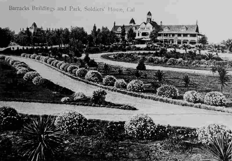 """Barracks Buildings and Park"" are seen in this vintage postcard from the Old Soldiers Home."