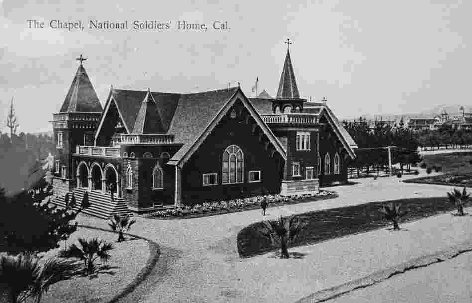 The Chapel, circa 1900. The chapel was used for religious services, weddings, substance abuse counseling and funeral rites by both veterans and members of the local community until a 1971 earthquake made the building unsafe for use. It is currently deteriorating, although the VA hopes to save it.