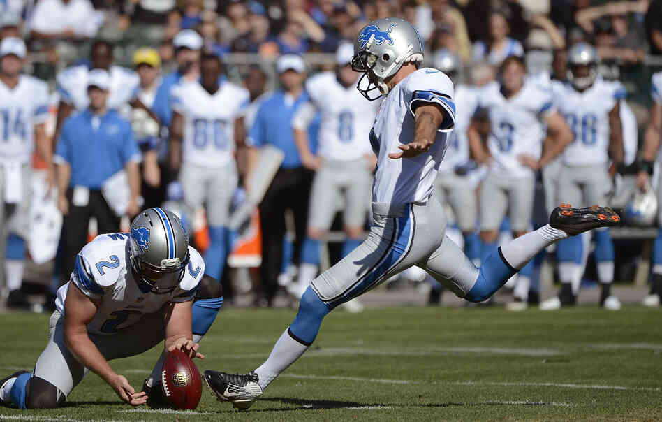 Detroit Lions place-kicker Jason Hanson attempts a field goal in a preseason game against the Oakland Raiders. Hanson, 42, has played 21 consecutive seasons for the Lions.