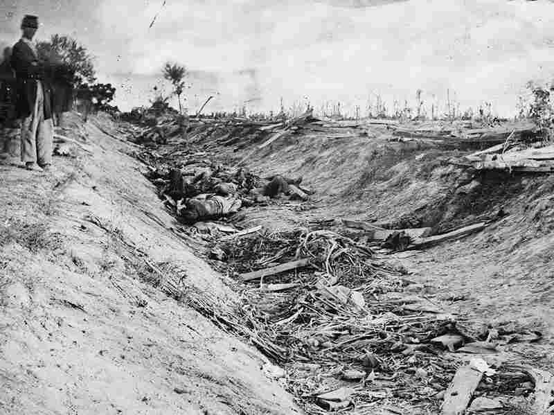 """Between two farm fields in Sharpsburg there was a sunken road, which Confederates used as a rifle pit until they were overrun by the Federals and slaughtered. The road has since been known as """"Bloody Lane."""""""
