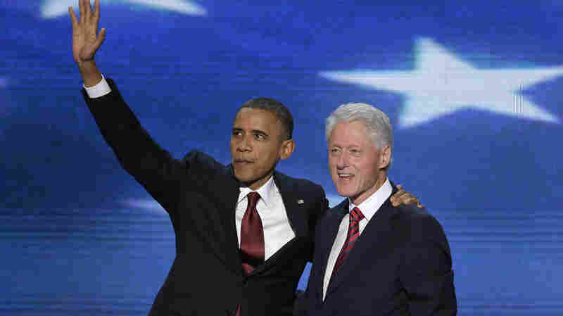 President Barack Obama joins Former President Bill Clinton on stage during the Democratic National Convention in Charlotte, N.C., on Wednesday.