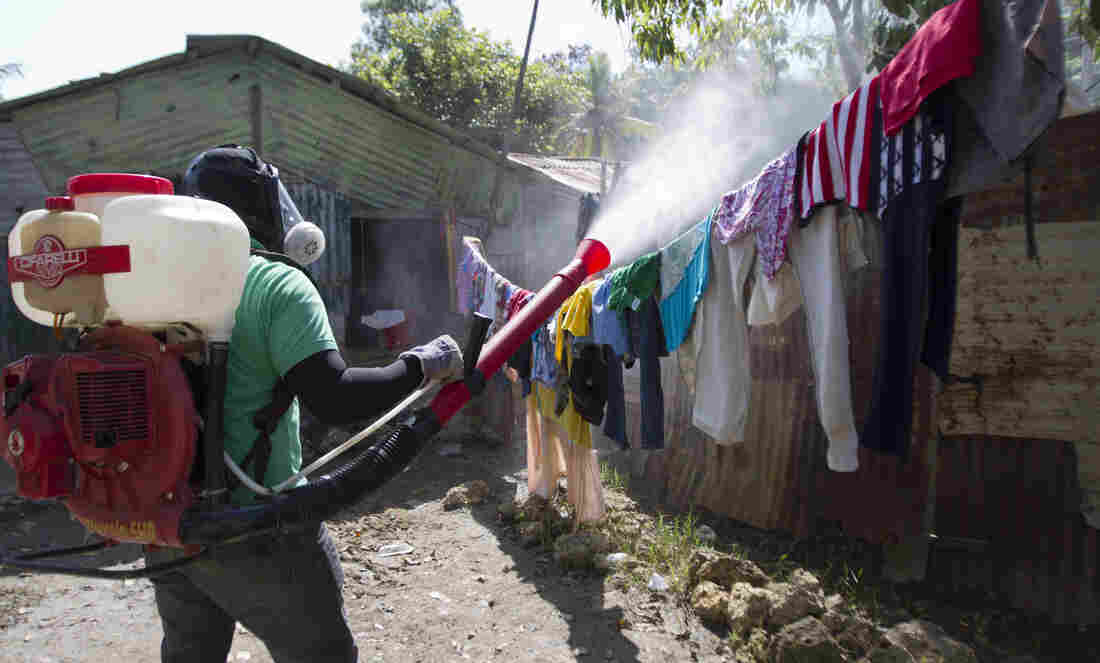 A health worker in the Domincan Republic sprays insecticide between houses to stop dengue fever outbreaks this month.