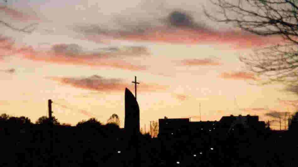 Franciscan University of Steubenville's Christ the King Chapel seen at dusk in this image taken in 1980, in Steubenville, Ohio.