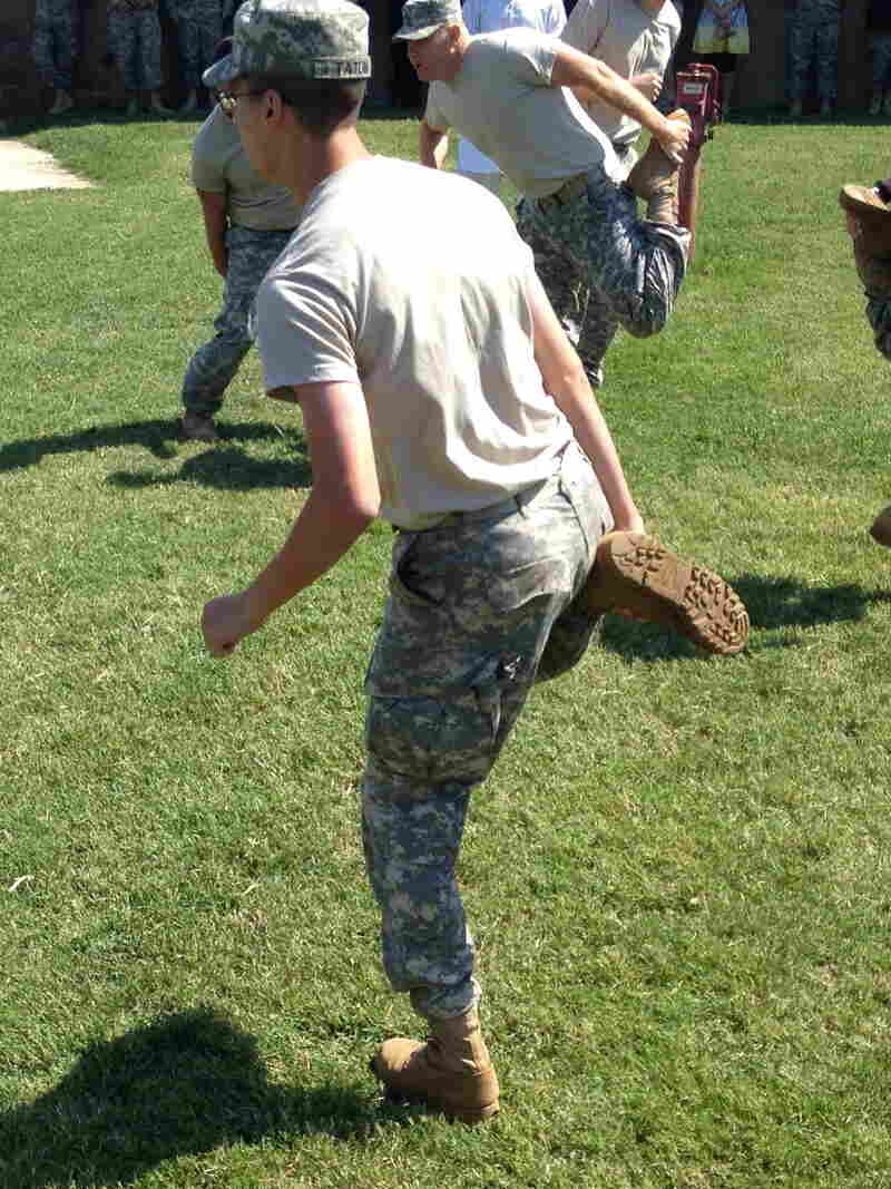 U.S. Army soldiers learn to play khosai, Afghanistan's full-contact national pastime, at Fort Campbell.