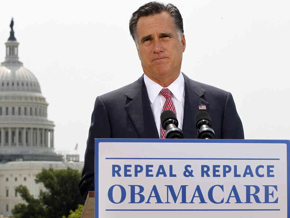 Republican presidential candidate Mitt Romney talks about the Supreme Court's health care ruling near the U.S. Capitol in Washington in late June.