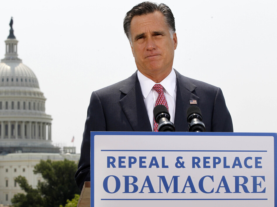 Republican presidential candidate Mitt Romney talks about the Supreme Court's health care ruling near the U.S. Capitol in Washington in late June. (Charles Dharapak/AP)