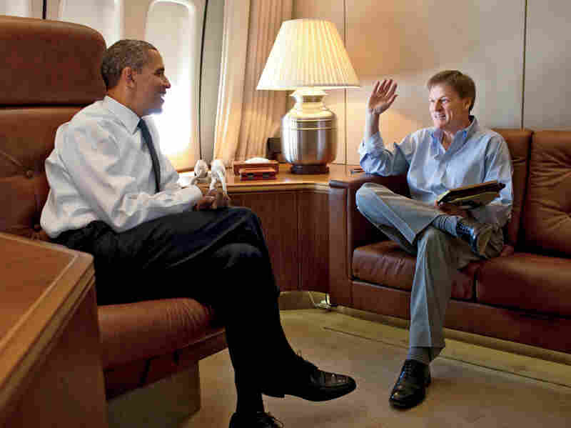 In this photo from the October issue of Vanity Fair, writer Michael Lewis interviews Obama.