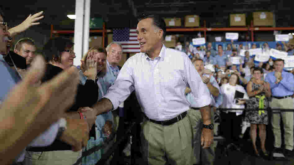 Republican presidential nominee Mitt Romney campaigns at PR Machine Works in Mansfield, Ohio, on Monday.
