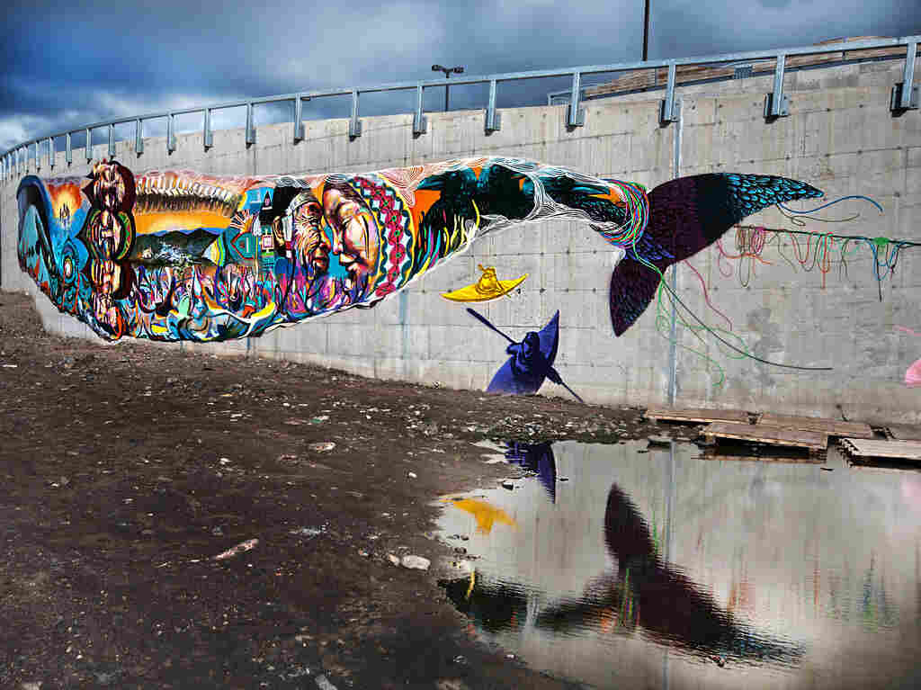 A mural in the isolated city of Iqaluit, in Canada, where food insecurity is tied up with native culture, poverty, and high food prices.