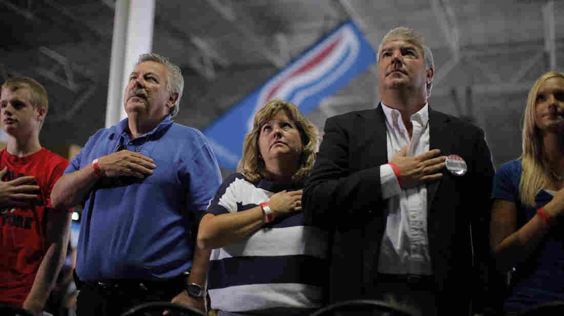 Attendees at Monday's Mitt Romney rally in Mansfield, Ohio, recite the Pledge of Allegiance.