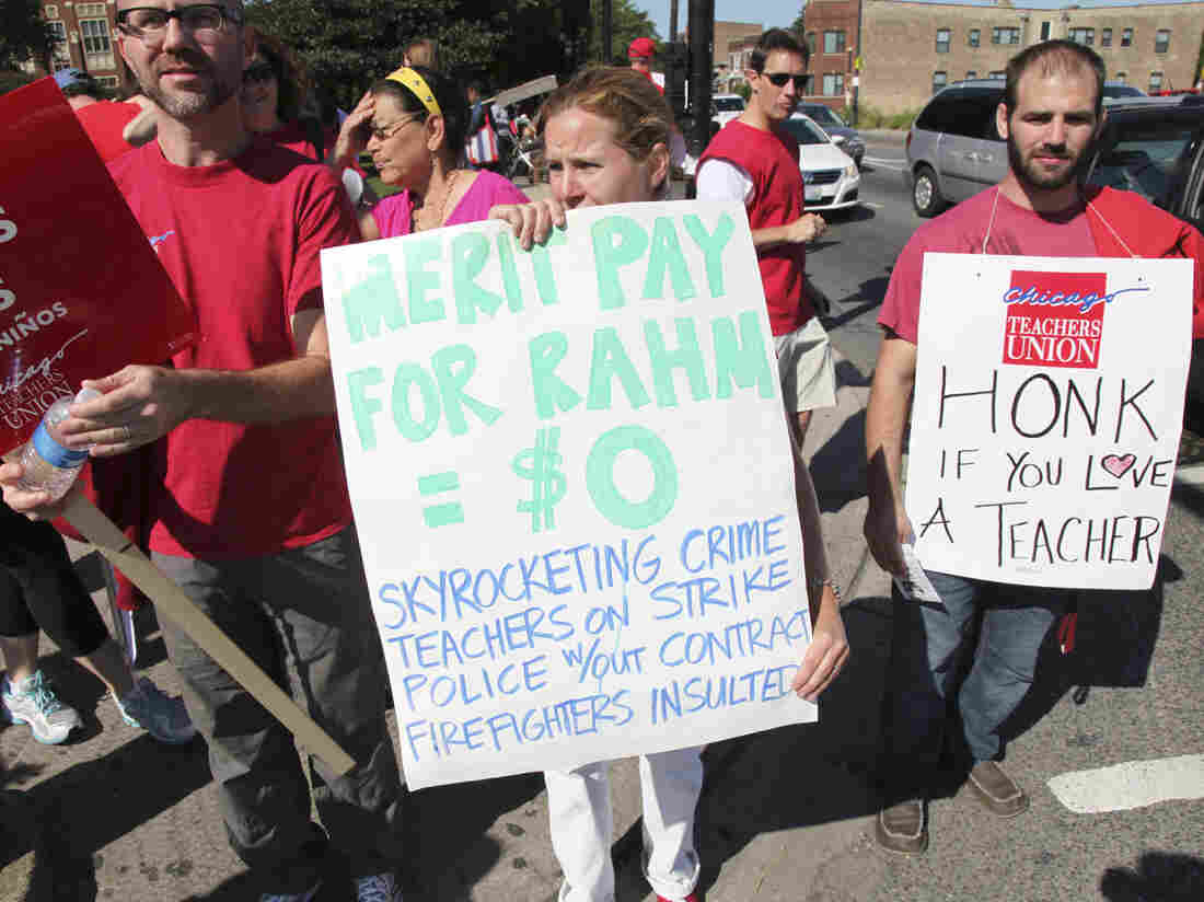 Striking Chicago public school teachers have a message for Mayor Rahm Emanuel on Tuesday.