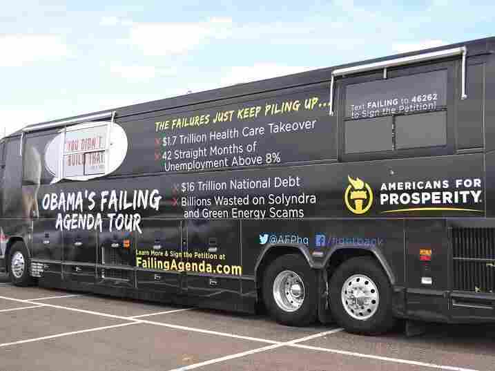 """Americans for Prosperity brought its """"Failing Agenda"""" bus tour to suburban cities in Colorado's heavily populated Front Range."""