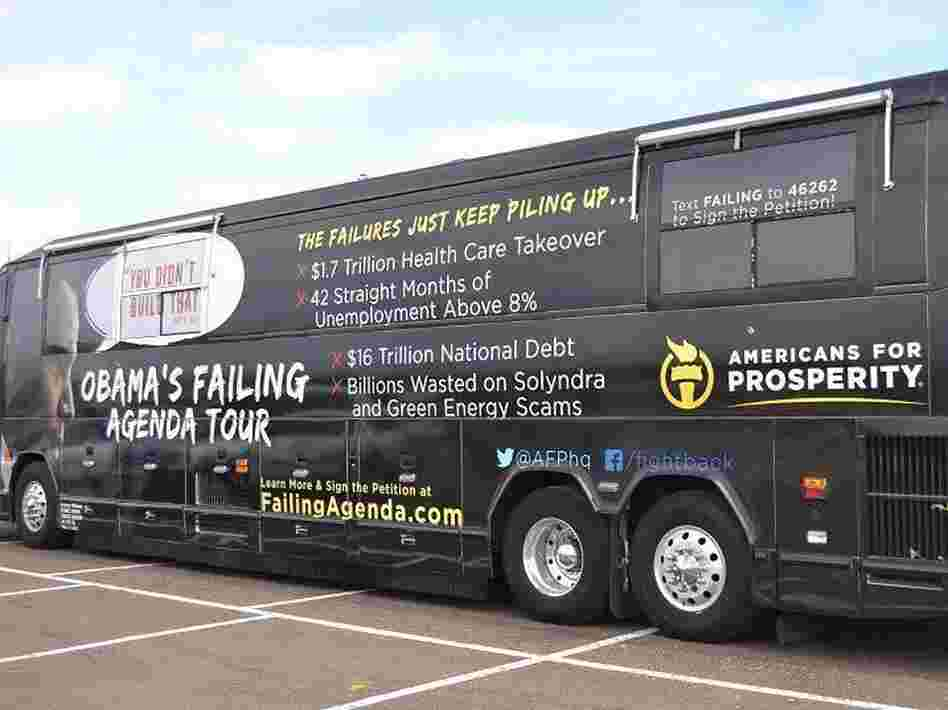 "Americans for Prosperity brought its ""Failing Agenda"" bus tour to suburban cities in Colorado's heavily populated Front Range."