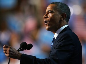 Democratic presidential candidate, U.S. President Barack Obama speaks on stage as he accepts the nomination for president during the final day of the Democratic National Convention in Charlotte, North Carolina.