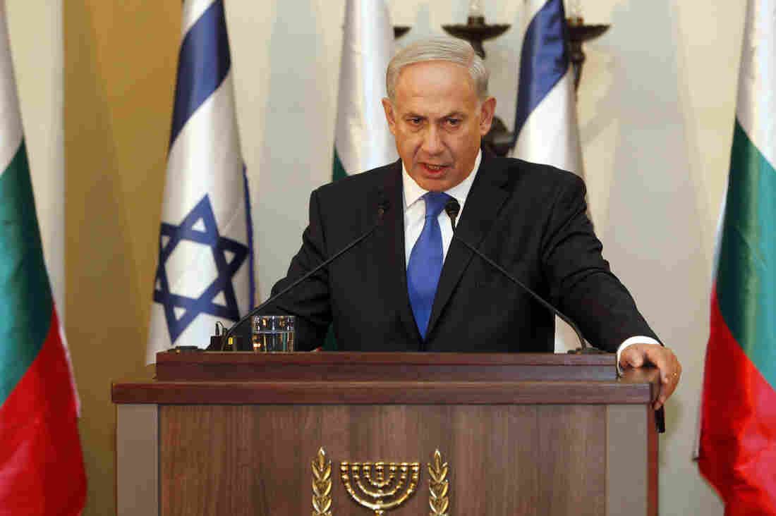 Israeli Prime Minister Benjamin Netanyahu speaks during a joint press conference with his Bulgarian counterpart Boyko Borissov, not seen, in Jerusalem on Tuesday.