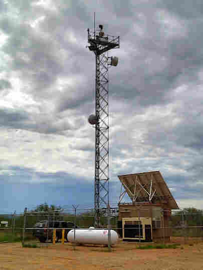One of the towers south of Tucson built as part of the aborted SBI-Net plan. It has radar, microwave, video, infrared and ground-sensor relays.