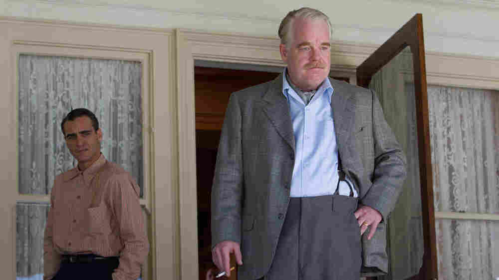 Navy veteran Freddie (Joaquin Phoenix) falls under the influence of cult leader Lancaster Dodd (Philip Seymour Hoffman) in The Master.