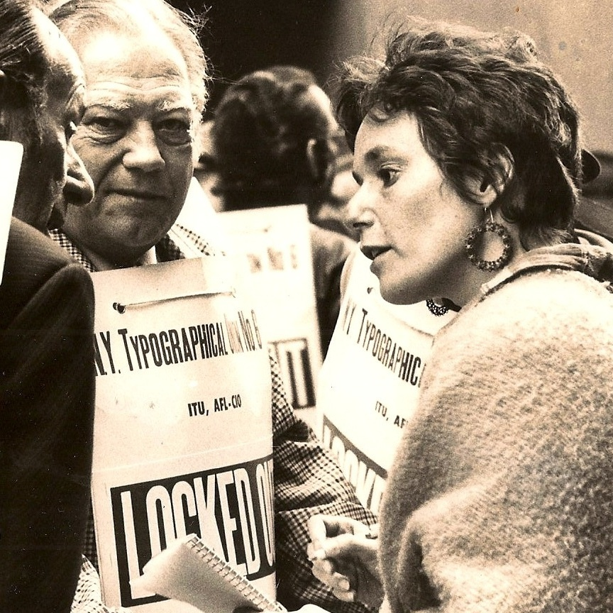 Media reporter Betsy Carter went on to start New York Woman magazine and write novels. She's shown here with striking printers in 1974.