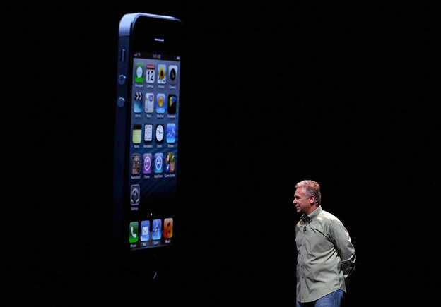 Apple Senior Vice President of Worldwide product marketing Phil Schiller announces the new iPhone 5 during an Apple special event at the Yerba Buena Center for the Arts in San Francisco, Calif.