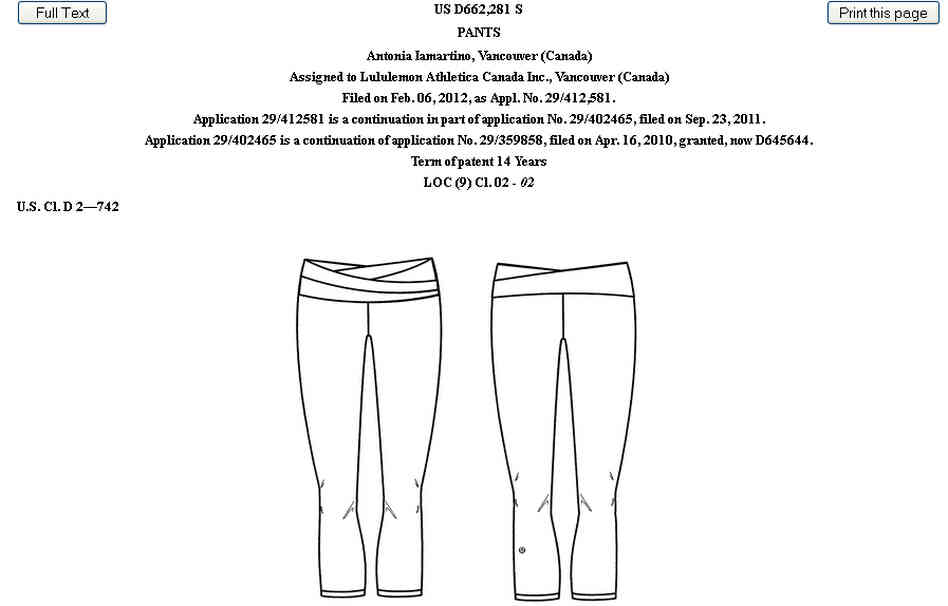 Lululemon's patented Astro pant