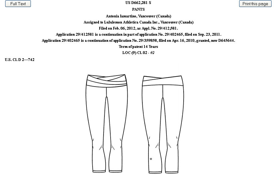 Clothing Design Patent Lawsuit Lululemon s patented Astro