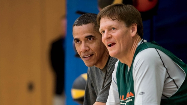 Contributing editor Michael Lewis played basketball with President Obama while working on a piece for Vanity Fair. (The White House)