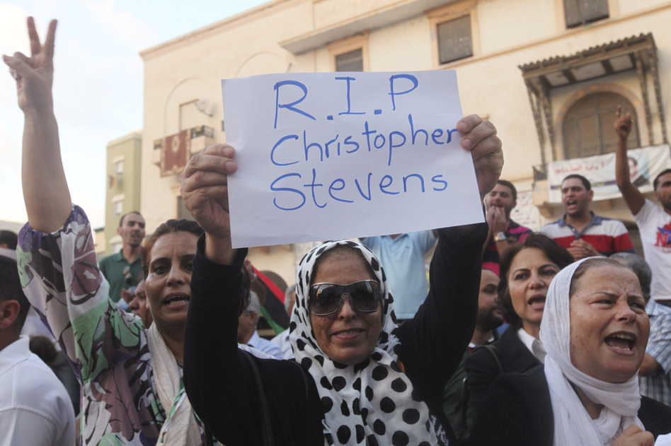 Demonstrators condemn the killing of Christopher Stevens, the U.S. ambassador to Libya, and the attack on the U.S. consulate, in Benghazi on Wednesday. (Reuters/Landov)