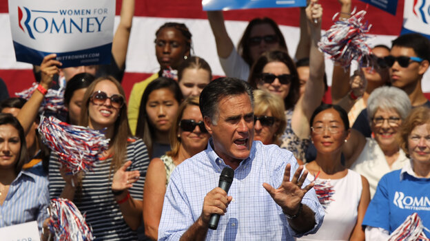Republican presidential nominee Mitt Romney speaks Thursday in Fairfax, Va.