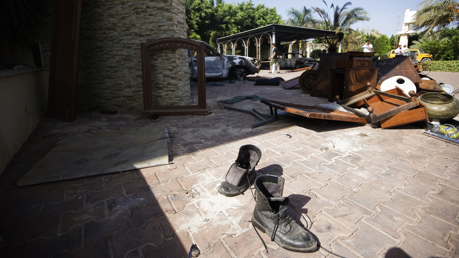 Broken furniture outside the U.S. consulate building in Benghazi on Thursday, following an attack on the building late on September 11. (AFP/Getty Images)