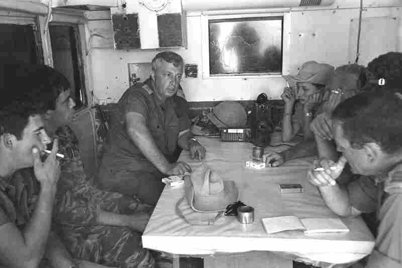 Sharon, the Israeli army's Southern Command general, meets with his officers a week before the start of the Six-Day War on May 29, 1967, at their headquarters in southern Israel.
