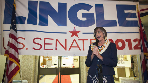 Former Hawaii Gov. Linda Lingle gives a victory speech in Honolulu after winning the Republican nomination for U.S. Senate on Aug. 11.